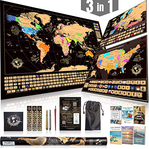 Scratch Off Map Ultimate Pack (World, USA, and Europe) | 3 Top-Quality Scratch-Off Maps with 5 Tools and 6 Ebooks | The Most Complete Travel Tracker Poster Set by Shiny Journey