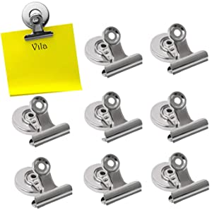 Vila 8 Piece Refrigerator Magnet Hooks, 1.2 Inches Wide Round Metal Fridge Clip, for Memo or Reminder Notes, Photo Displays, Silver Colored Decorative Organizer
