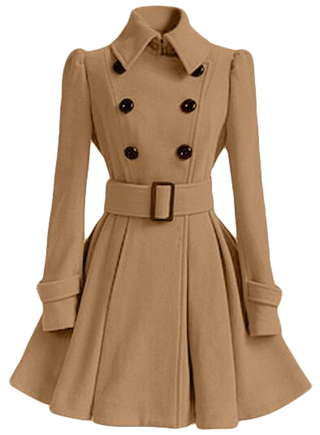 Domple Womens Classic Stand Collar Double-Breasted Woolen Coat With Belt Khaki M