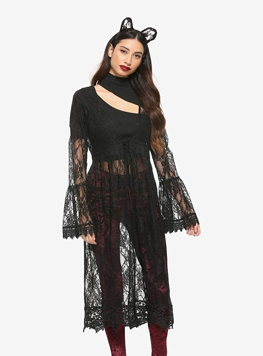 Black Lace Tie-Front Bell Sleeve Duster