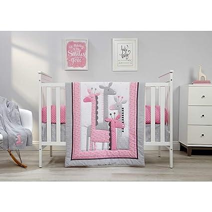 4 Piece Girls Pink Grey White Giraffe Crib