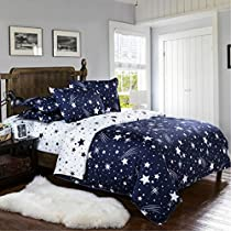 Dream Star Quilt Cover, Comforter Set Luxury Soft Bedding, Space Theme Kids Duvet Cover Set for Bedspread (Blue, 1 Quilt Coverlet & 2 Pillowcases, Twin Size)