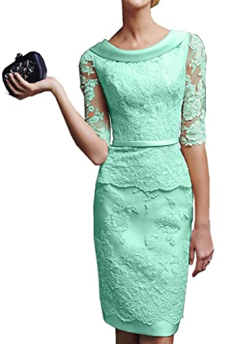 Gorgeous Bridal Short Sheath Half Sleeves Mother of the Bride Lace Cocktail Dresses