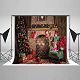 Kate 20ft(W) x10ft(H) Christmas Backdrop Decorations Microfiber Christmas Fireplace Photography Backdrops Xmas Photo Background