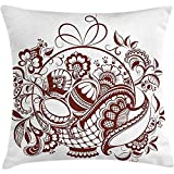 Starotor Throw Pillow Ethnic Cushion Cover, Classic Blossom Swirls with Middle Eastern Arabian Bohemian Influences Pattern, Decorative Square Accent Pillow Case, 18 X 18 Inches, Brown and White
