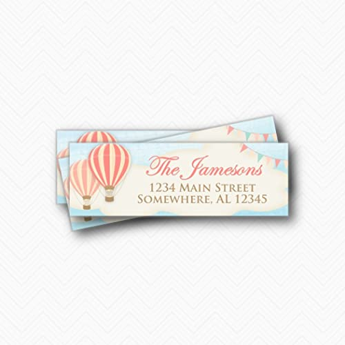 hot air balloon return address labels 3x1 rectangle printed return address label