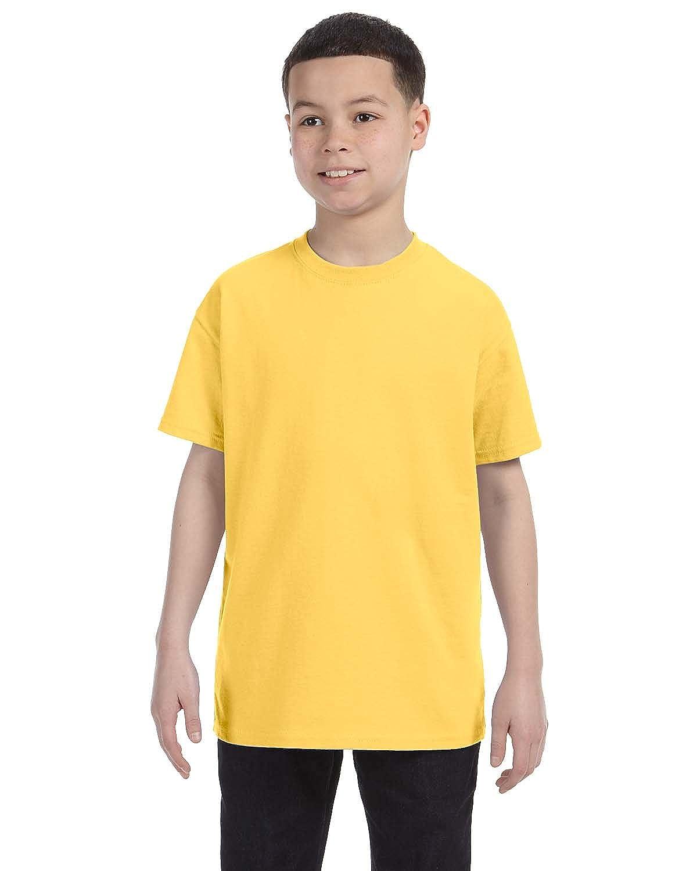 Jerzees Big Boys Rib Collar Tear Away Label T-Shirt Island Yellow X-Large