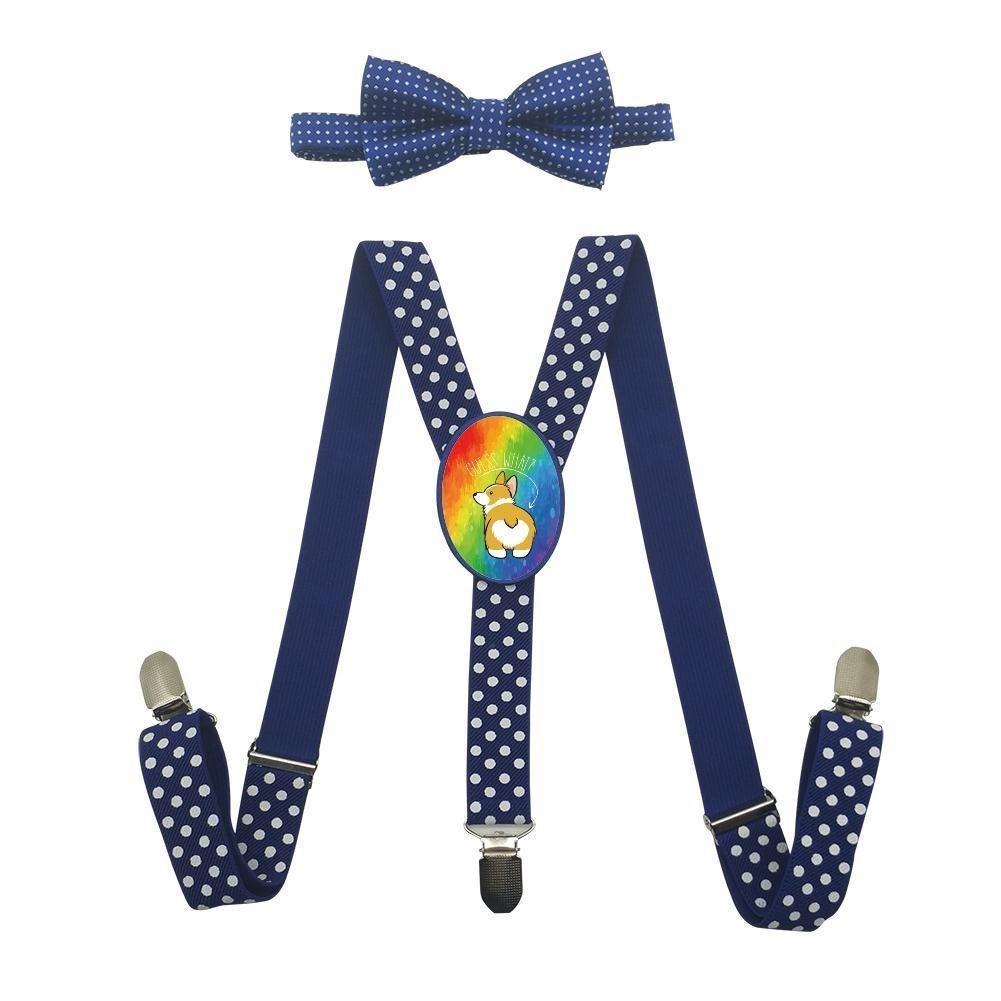 Qujki Corgi Butt Suspenders Bowtie Set-Adjustable Length