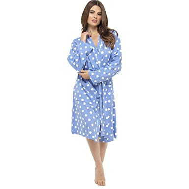 Krishwear Ladies Waffle Robe Dressing Gown with Polka Spot and Plain ... 6b9b49ce2