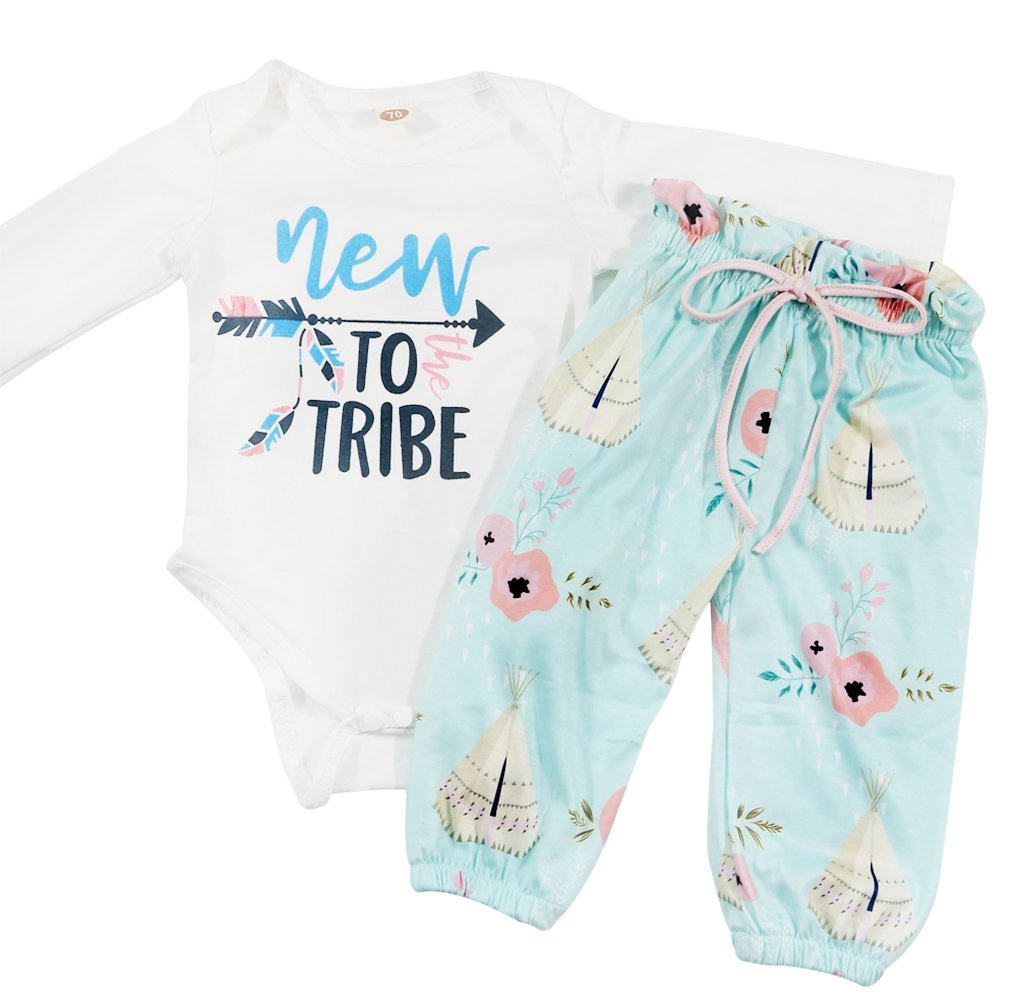 Baby Girls New to The Tribe Romper High Waist Teepee Floral Print Pants Outfit Size 6-12 Months/Tag80 (White)