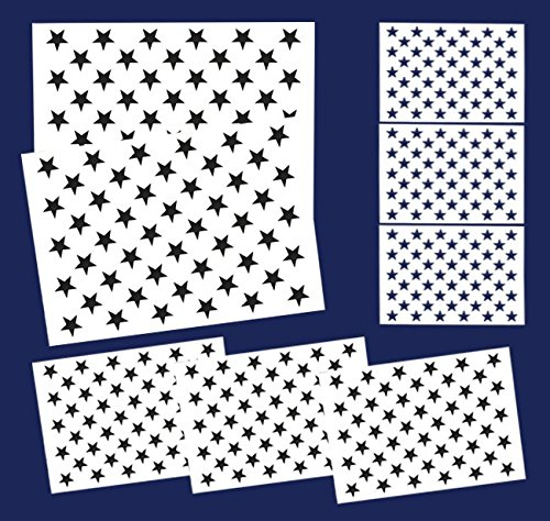 8 Pieces American Flag 50 Stars Stencil Template for Painting on Wood,  Fabric, Paper, Airbrush, Walls Art, 2 Large, 3 Medium and 3 Small