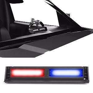 Striker TIR 2 Head LED Dash Light for Emergency Vehicles/Warning Strobe Deck/Dash Light Windshield Mount - Red/Blue