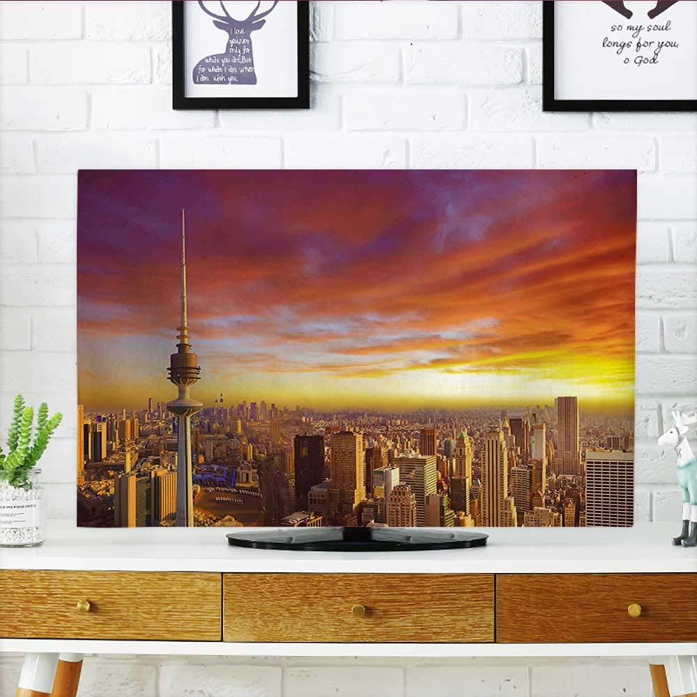 Leighhome Protect Your TV Sky Urban Theme of Kuwait Skyline at and Skyscrapers プリント オレンジとイエロー TV W19 x H30 インチ/TV 32インチ W35 x H55 INCH/TV 60