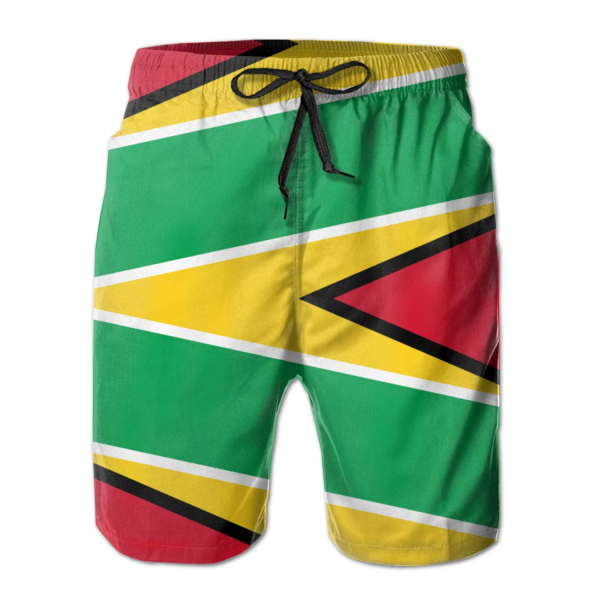 FASUWAVE Mens Swim Trunks Originality Guyana Flag Quick Dry Beach Board Shorts with Mesh Lining