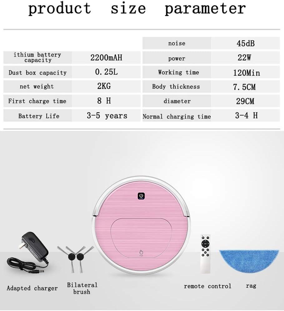 Robot Aspirateur, Aspirateur Et Essuyage Balayant 3 En 1 Automatique Aspirateur Ultra-mince Et Silencieux, pour sols durs et poils d\'animaux (Color : Pink) Pink
