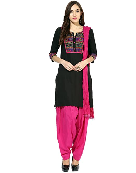 8141ce3166 Jaipur Kurti Pure Cotton Complete Set of Black Kurta and Rani Patiala  Dupatta(JKPTD2620_Black_Small)
