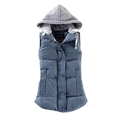 on sale 6e204 0ff71 Rosennie Damen Weste Mit Kapuze Übergangsweste Winter Warm ...