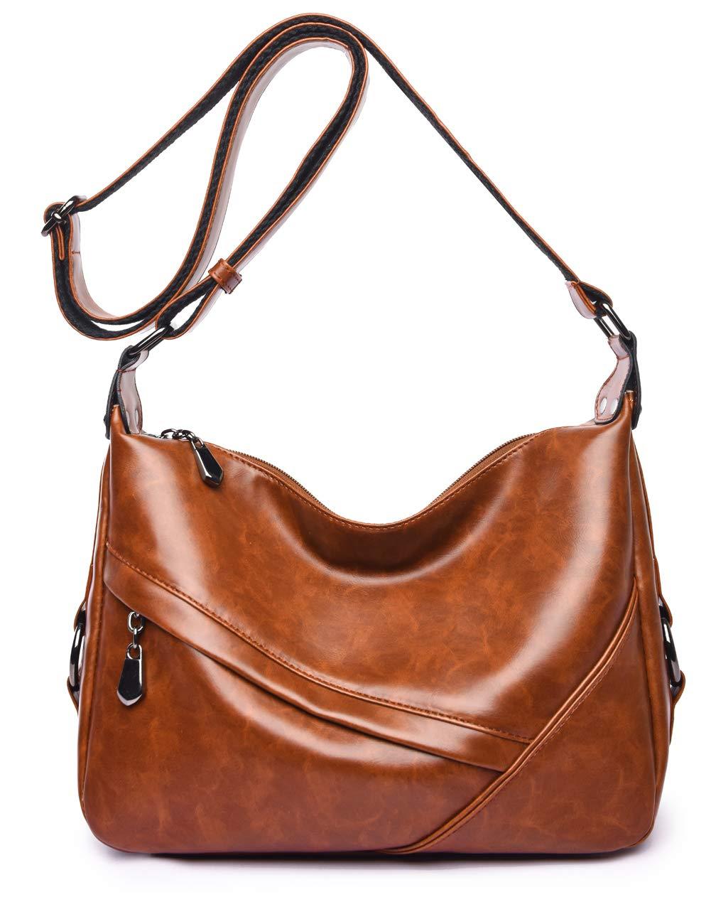 Women's Retro Sling Shoulder Bag from Covelin, Leather Crossbody Tote Handbag New Brown