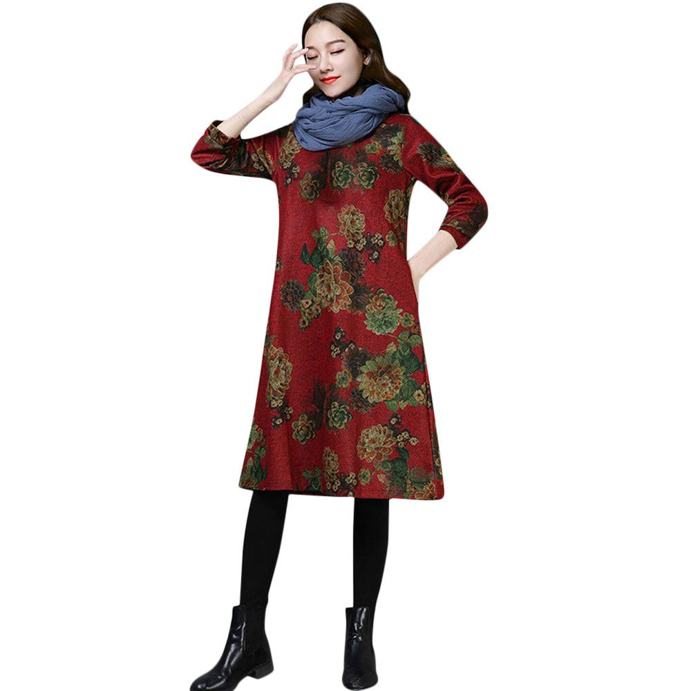 iHAZA Floral Paisley Long Dress Women Long Sleeve Vintage Crewneck Kaftan Dress