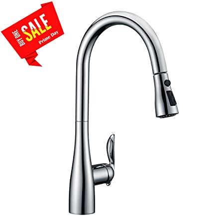 Beelee Single Lever Brushed Nickel Pull Out Sprayer Kitchen Sink Tap Commercial Deck Mounted Brass Kitchen Pull Down Mixer Taps