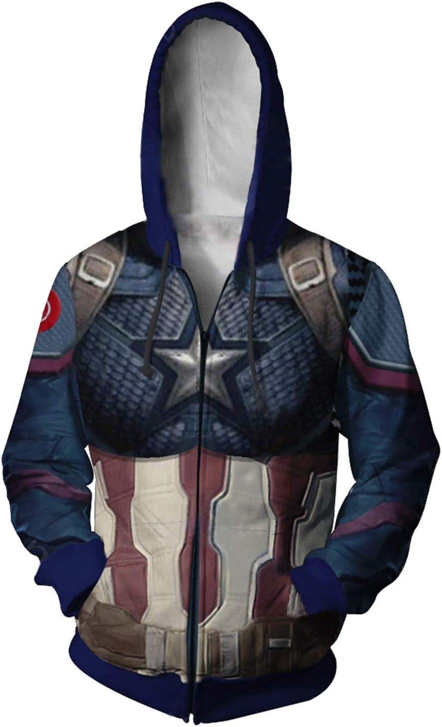 Signori Porta da Stampare Giacca Camicia del Maglione Outwear Felpe Jumper Avengers Endgame Quantum Warfare Quantenkrieg Uniforme Captain America Fish Scales