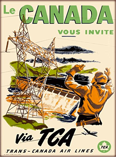(A SLICE IN TIME Le Canada Vous Invite Via TCA Trans-Canada Air Lines Canadian Vintage Airline Airlines Travel Advertisement Art Poster Print. Measures 10 x 13.5 inches)