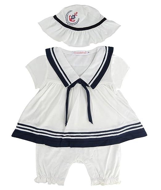 220c83069 A&J DESIGN Infant Girls' Nautical Sailor Romper Dress with Hat (6-9 Months