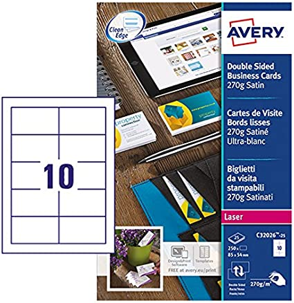Avery Zweckform C32026 25 Premium Visitenkarten 250 Stück 85 X 54 Mm Beidseitig Bedruckbar Satiniert 25 Blatt