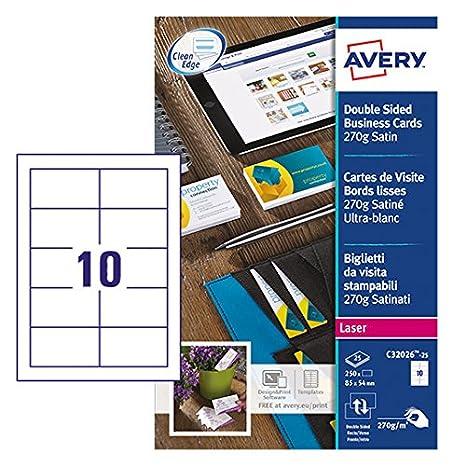 Avery C 32026-10 doppio lato, stampabili biglietti da visita con finitura satinata, 270 g/m², per stampanti Laser, 85 x 54 mm, biglietti, 10 etichette per foglio A4 100 Cards Avery Tico Srl C32026-10