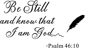 """Wall Stencils Quotes - Be Still and Know That I Am God Psalm, Prayer Decor Vinyl Wall Decals Murals Religion Christian Religious Quotes Handwriting Art Letters for Kitchen or Bed Room (22""""x 12.6"""")"""