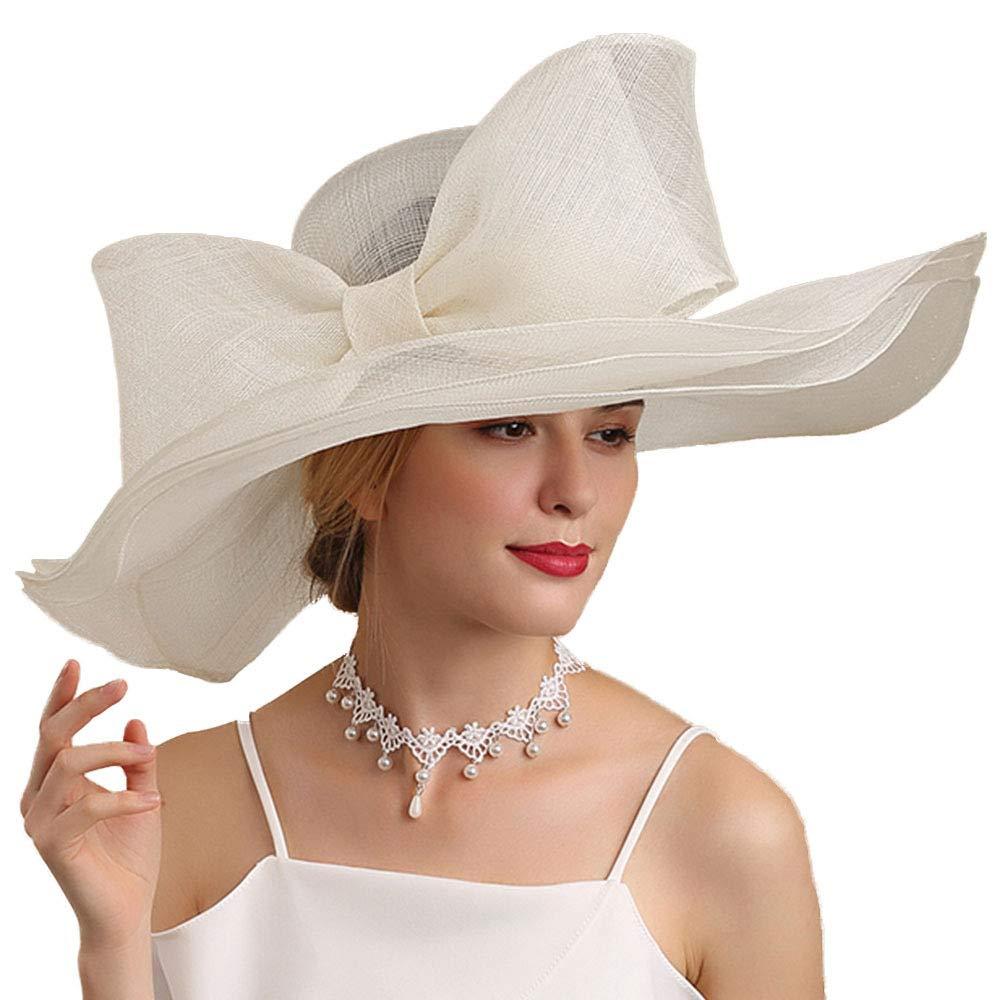 FADVES Women Hats Elegant Big Bowkont Sinamay Kentucky Derby Wedding Occasion Hat