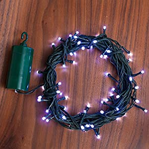 Outdoor Battery Operated String Lights With Timer: 24 Ft. Cool White Battery Operated 64 LED 8 Function Indoor Outdoor Cool  Touch Holiday String Lights with 6 Hour Built in Timer and Batteries  Included,Lighting