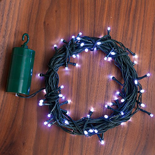 24 Ft. Cool White Battery Operated 64 LED 8 Function Indoor Outdoor Cool Touch Holiday String Lights with 6 Hour Built in Timer and Batteries Included