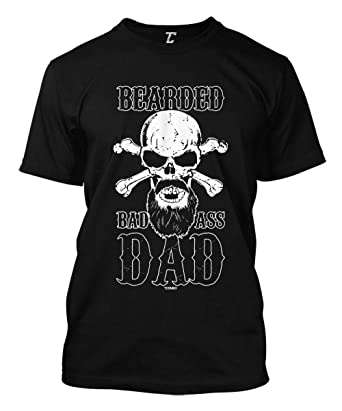 e5be28901 Amazon.com: Bearded Bad Ass Dad - Father's Day Skull Men's T-Shirt ...