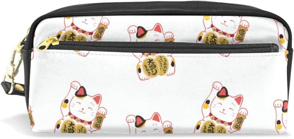 Estuche para lápices de gran capacidad, diseño de gatos de la suerte, color blanco: Amazon.es: Oficina y papelería