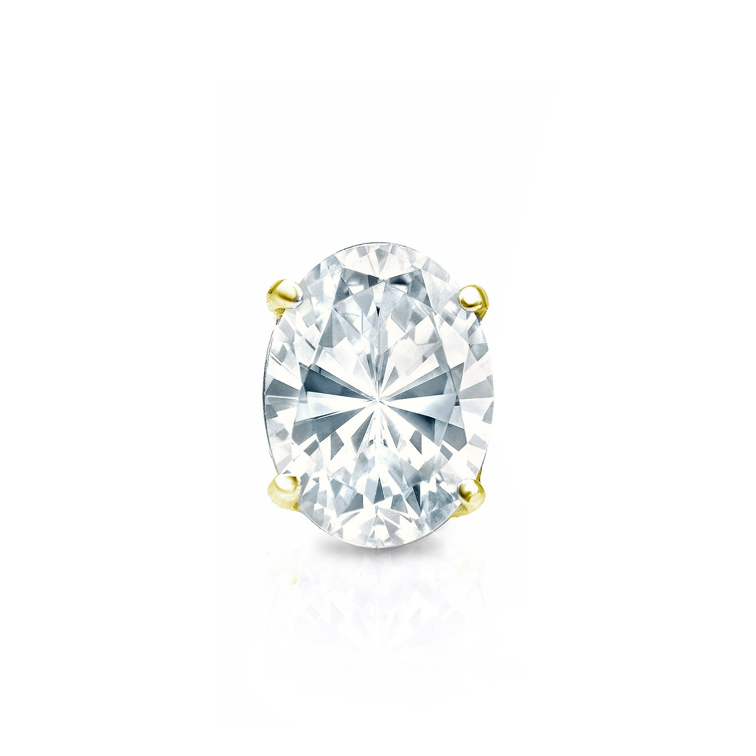 14k Yellow Gold Oval Diamond Simulant CZ SINGLE STUD Earring 4-Prong (1/2ct,Excellent Quality)
