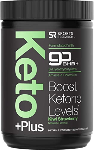 Keto Plus Powder – Exogenous Ketones BHB Chromium Picolinate – 30 Servings Formulated for Ketosis, Energy and Focus Keto Certified, Vegan Friendly Kiwi Strawberry