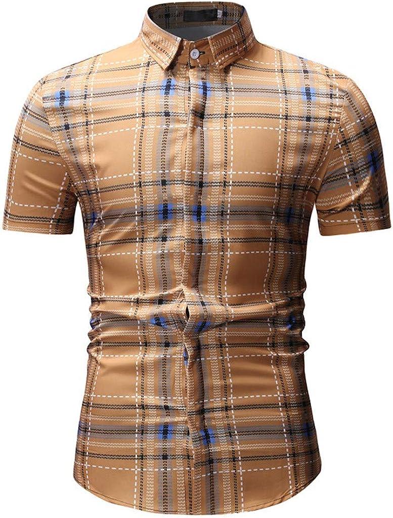 ZIMUUY Style Britannique Mode Printemps-Hiver pour Hommes Imprim/é D/écontract/é /À Manches Courtes Slim Chemises Tops Blouse 2019
