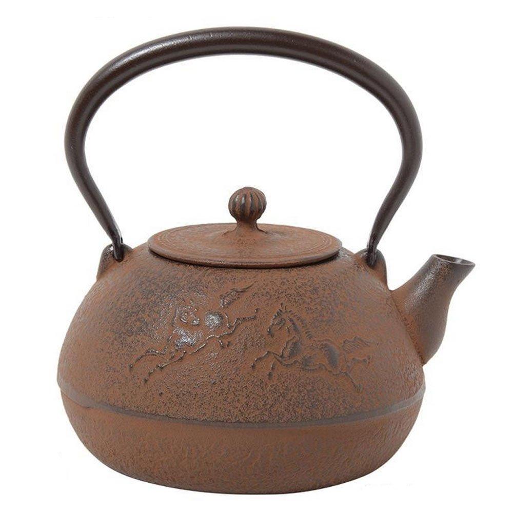 Comolife Japanese Traditional 'Nambu Tekki' Craft Tea Kettle,Color : Rust-colored, Design : Horse , Capacity : 33.81 (oz)