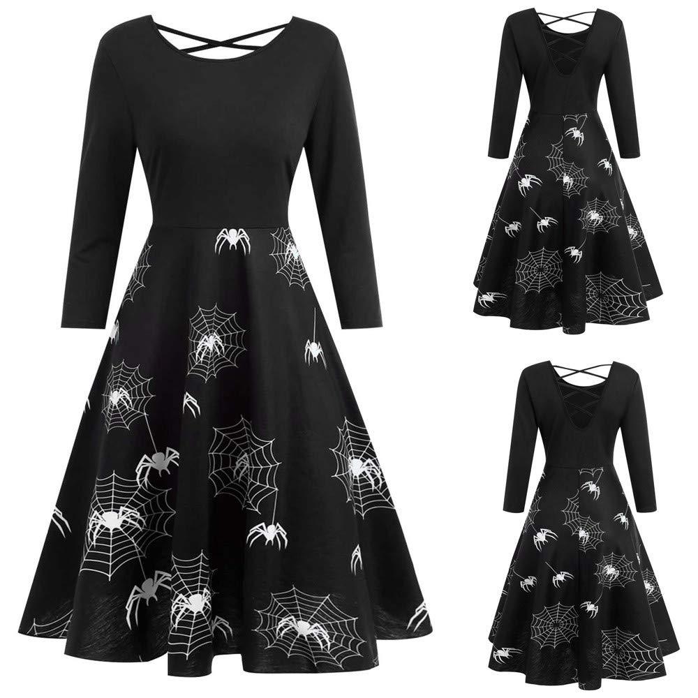 6f342798b9079c TWIFER 2018 Halloween Kostüm Damen Langarm Abendkleid Prom Swing Kleid:  Amazon.de: Bekleidung