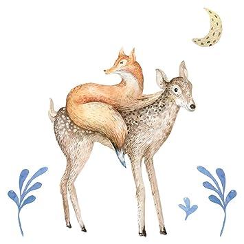 Wandtattoo Kinderzimmer Aquarell Fuchs Auf Reh Als Waldtiere Deko