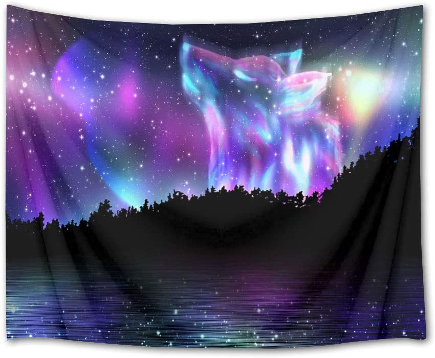 HVEST Animal Tapestry Space Tapestry Wall Hanging Wolf in Starry Sky with Jungle and River Scenery Wall Tapestries for Bedroom Living Room Dorm Decor,92.5Wx70.9H inches