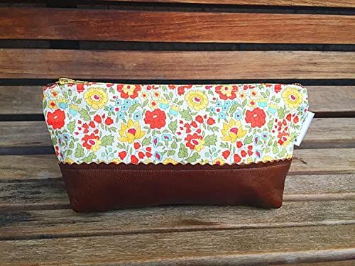 Daylily Small Brown Leather Pouch, Leather Clutch, Makeup Bag for Travel, Toiletry Bag, Women's Leather Zipper Pouch