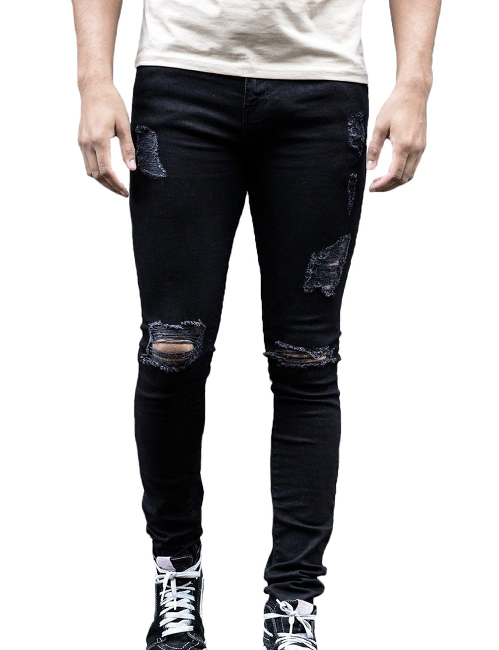 XARAZA Men's Ripped Distressed Full Length Skinny Jeans Denim Pants with Holes (Black, US 29)