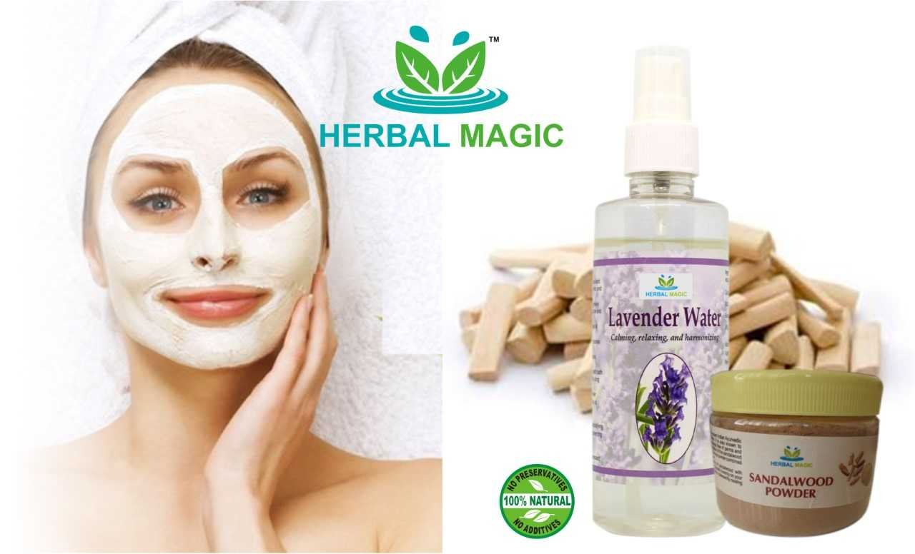 100% PURE & NATURAL YELLOW SANDALWOO POWDER CHANDAN (50G) + PURE LAVENDER WATER (200ML) -SAY NO TO WRINKLES AND YES TO GLOWING SKIN NATURALLY - MAGIC OF HERBS ONLY BY HERBAL MAGIC + PROFESSIONAL NO COST HAIR CARE TIPS (ON DEMAND) GMP/HALAL/ISO CERT PRO