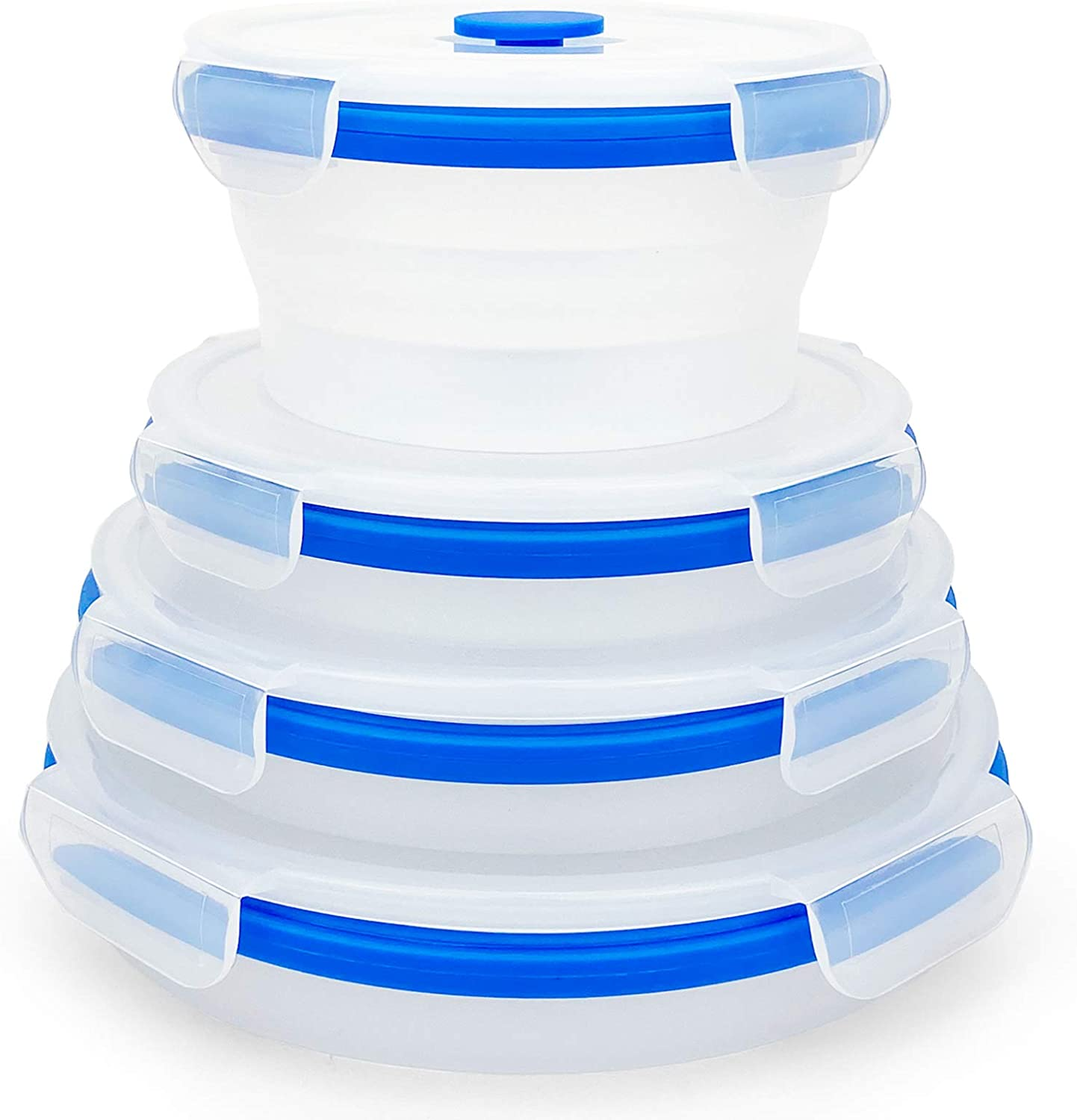 CCyanzi Silicone Containers For Food Storage, Collapsible Bowl with lids | Space Saving | Leakproof | Microwave Freezer Safe | Silicone Lunch Conatiners for Sandwich, Snacks