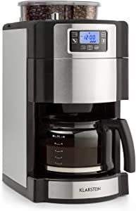 Klarstein Aromatica Nuovo Glass Coffee Machine Built-in Activated Carbon Filter Five-stage Grinder Drip Protection Three Aroma Levels: Light Medium Strong 24-hour Timer 10 Cups Permanent Filter Silver