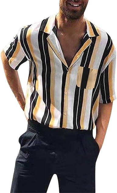 CAOQAO Hombre Camisa de Manga Corta Casual Blusa de Rayas Superior: Amazon.es: Ropa y accesorios