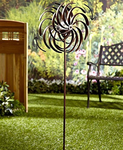 Yard Spinner (The Lakeside Collection Double Spiral Solar Garden Spinner)