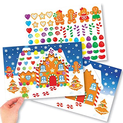 Gingerbread House Sticker Scene Kits Perfect For Xmas Childrens Arts Crafts And Decorating For Boys